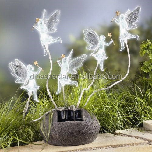 Lovely flowers charming angel t lights ornament powered decorations lantern garden solar lamp