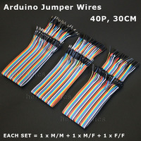 Wholesale Breadboard Jumper Wires 40Pin 300mm Extension Ribbon Wire Cable 1 Set = 1xMM + 1xMF + 1xFF