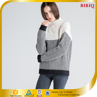 2016 Latest High Neck Joint Long Sleeves Loose Knitwear For Women
