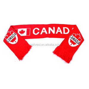 Canada national flag knitted fan scarf,football team supporter scarf,cheap soccer scarf