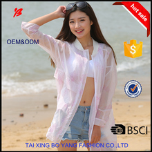boyang portable summer sunproof thin skin jacket without hood for women