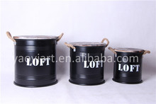 Customized Design Round Set of 3 Metal Bucket Barrels