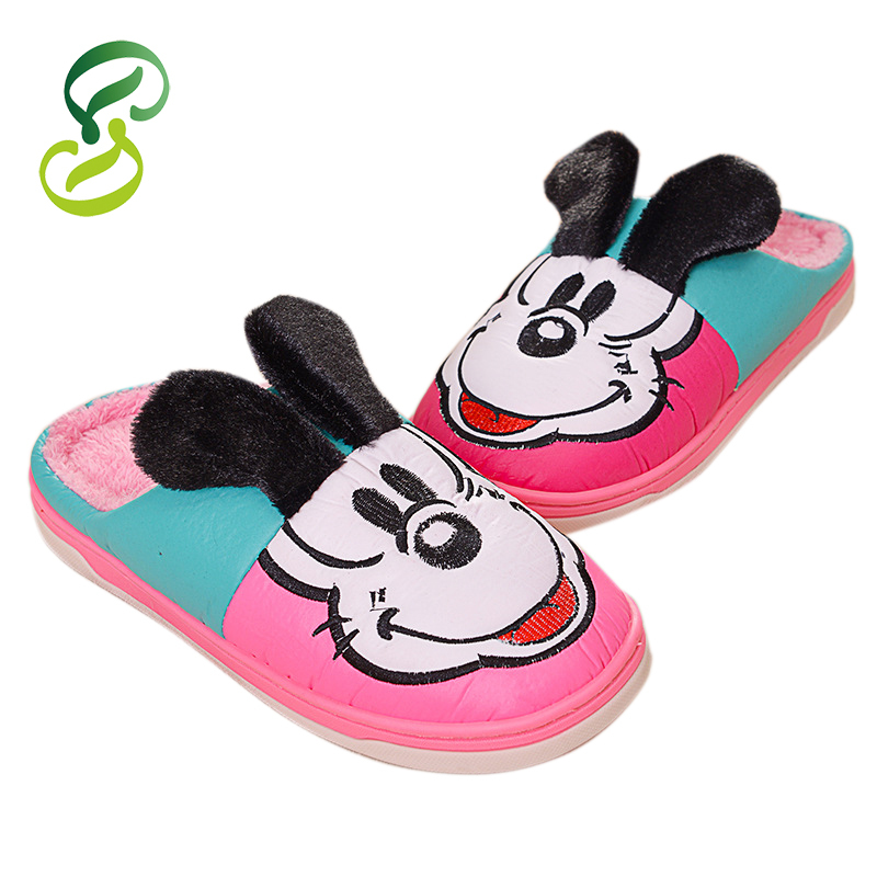 2015 Fashion Winter pantufa Men Women shoes Home slippers Plush slipper long flush Lovely Cartoon Mouse warm slippers