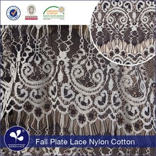 Hot selling C316 wholosale nylon cotton white black fall plate dress lace material