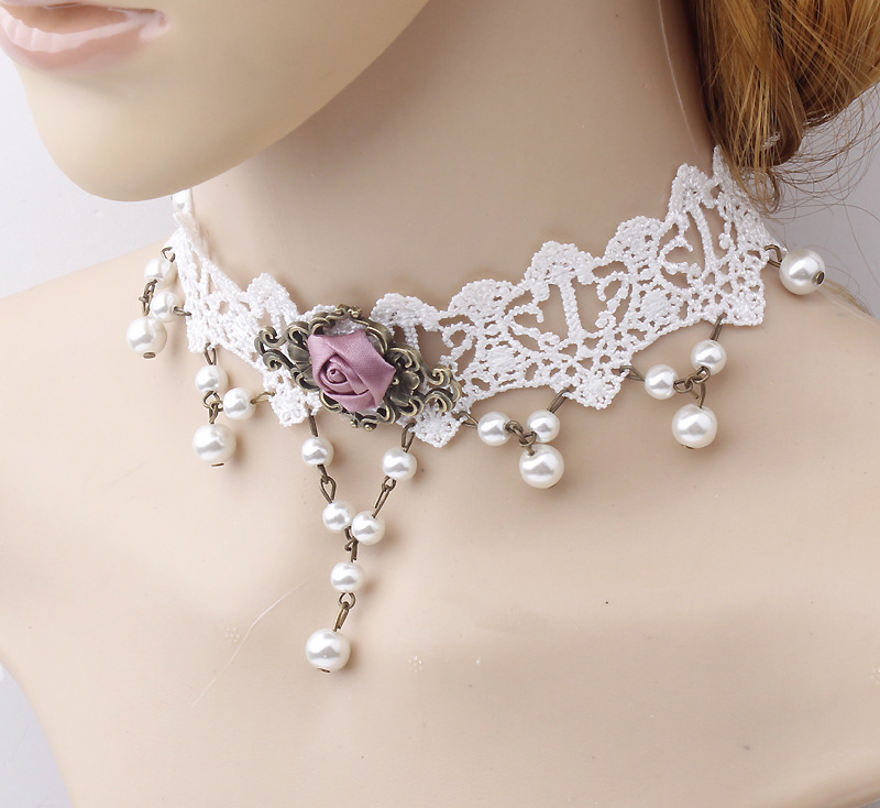Fashion jewellery pearl pendant choker necklaces
