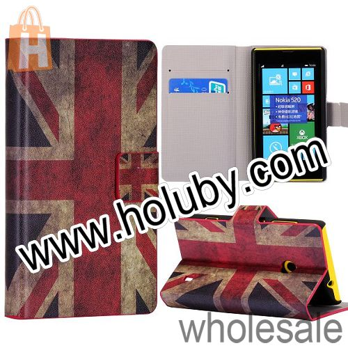 Retro UK Flag Pattern Wallet Style Stand Leather Case for Nokia Lumia 520 Full Body Cover For Nokia Lumia 525 with Card Slots