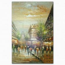 Handmade abstract beautiful street scenery oil painting famous paintings on canvas