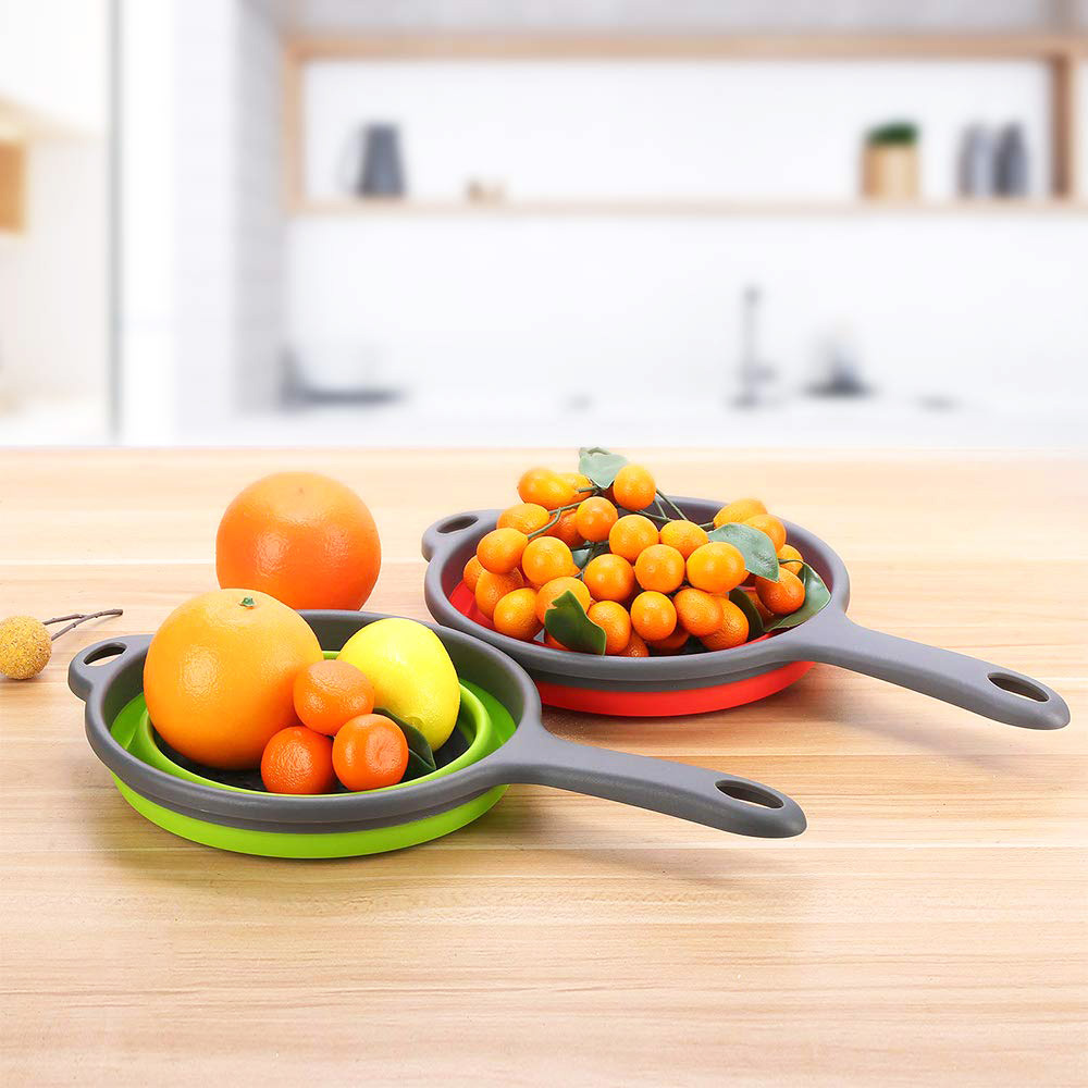 Wholesale Food Grade Silicone Kitchen Space Saver Collapsible Colander Vegetable Wash Basket