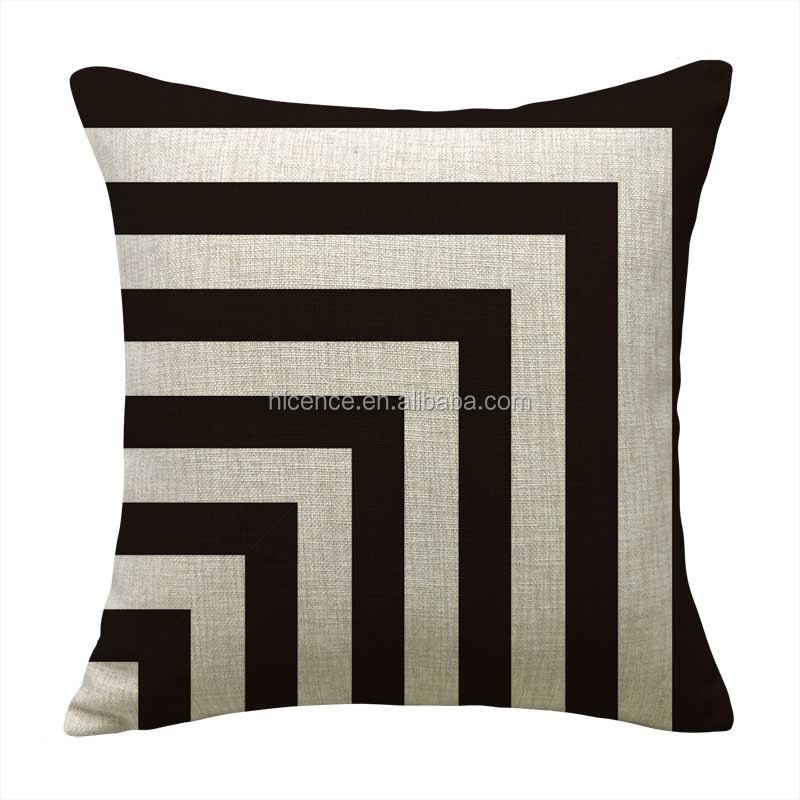 Black and white decorative sofa or bedroom cushion cover with different geometric