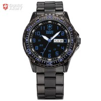 Black Stainless Steel Military Quartz Men Analog Sports Watch