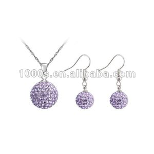 Costume Rhodium Plating 925 Sterling Silver Crystal Jewelry Set