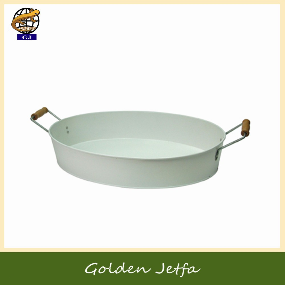 Household Galvanized Metal Round Tray with wooden handle