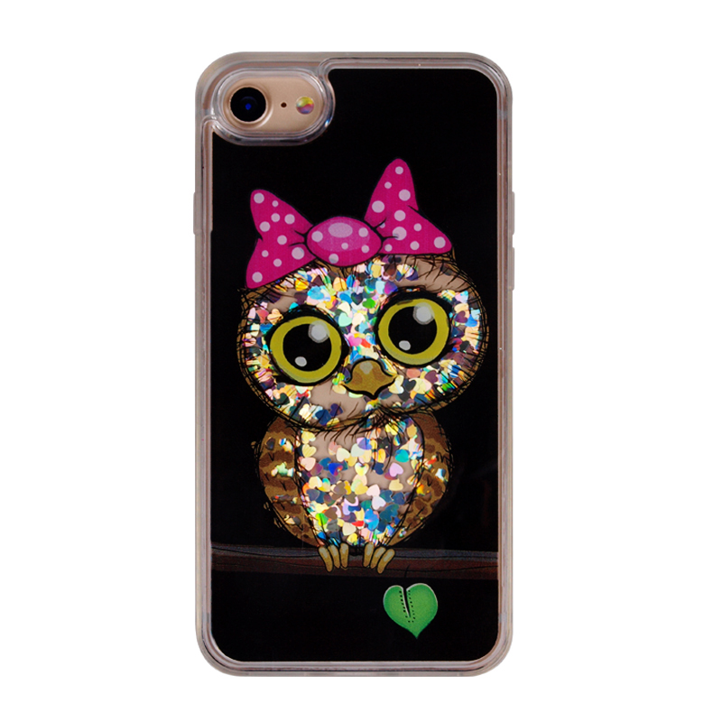 owl design sparkle glitter case creative mobile case for iphone 7 7plus 8 8plus X