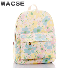 manufacturers yellow flowers printed cute girl book bag cheap
