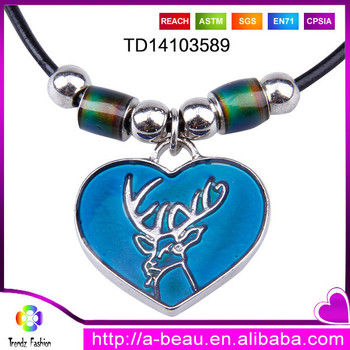 Latest Design Heart Shape Animal Color Changing Mood Pendant Leather Necklace With 2 Precious Mood Beads
