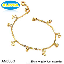 Olivia New Arrival 18k Gold Ankle Foot Bracelet Body Jewelry Girls Fashion Anklets