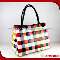 100% handmade woven foldable plastic woman shopping bag