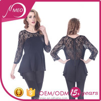 Elegant black basic women blouse fashion lace tops blouses 2015