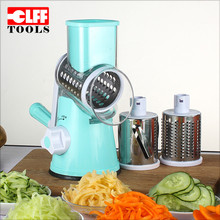 Household Manual 3 Stainless Steel round blade mandoline vegetable and fruit spiral slicer