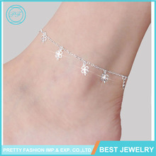 Pretty Fashion pure silver anklet jewelry and New design 4 leaf Clover Girls Lucky Charm Anklet