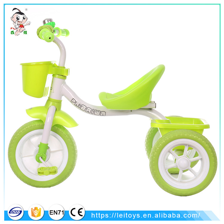 Cheap plastic toy cars children tricycle two seat kids rickshaw with bell