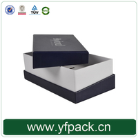 Hot Sale Black Matte Cardboard Paper Lid And Base Box With White Logo