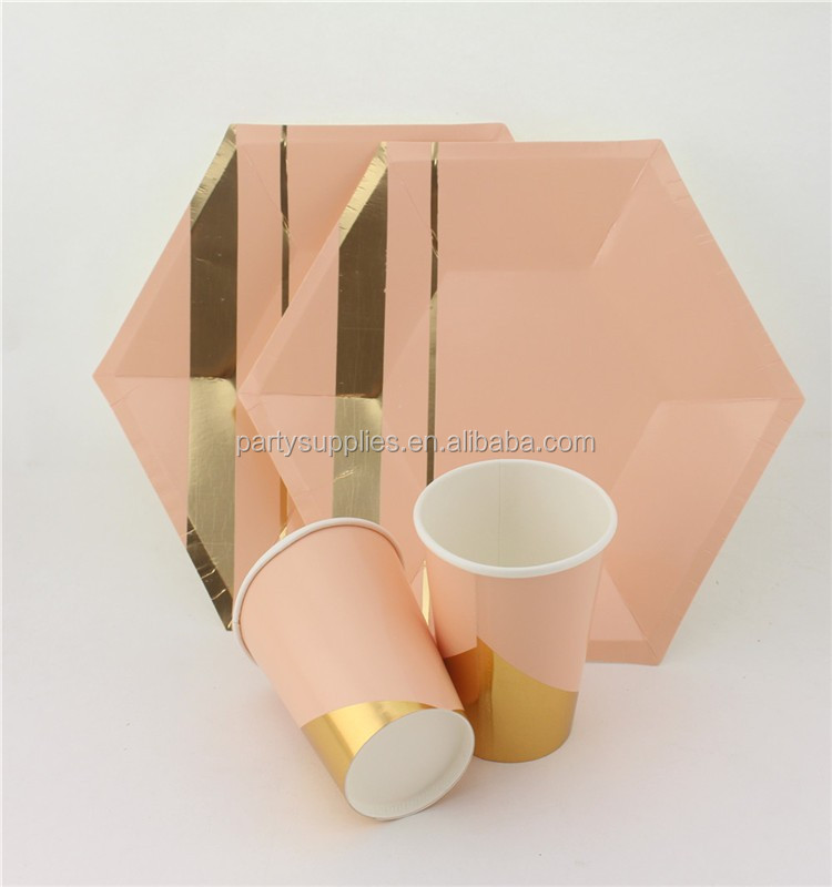 Coral Pink & Gold Foil Beverage Paper Party Cups Straws Dinner Plates Napkins Pink Cocktail Party Supply Tableware