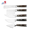 Deluxe new design pakka wood handle Triple Rivet Silver Cap 5-Piece cheese Knife Set