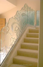 Customized frameless art glass railing, fused glass/stair railing design