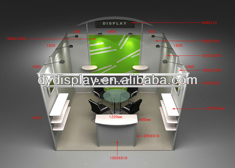 portable exhibition trade show booth displays/trade show booth of 3x3 for display