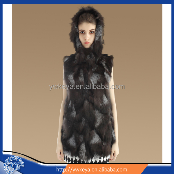 Latest design Women Long Style Real Silver Fox Fur Vest with Hood