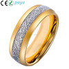 Gold Domed Tungsten Ring Inlay Imitated Meteorite, Tungsten Ring Silvery Gold