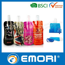 Top quality logo printed practical BPA free foldable PE collapsible bottle with carabiner