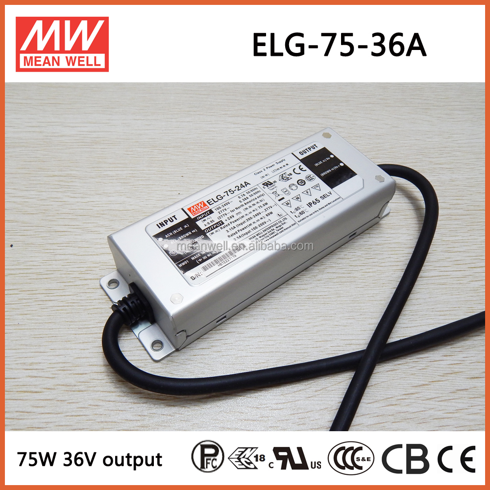 ELG-75-36A 75W 36V 2.1A Meanwell philips led driver 36v