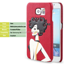 free sample 3D animal sex girl slim leather mobile phone case for Samsung galaxy S6 case