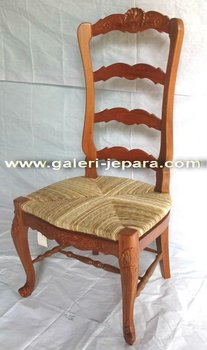 French Louis Chair with Water Hyacinth - Mahogany Dining Room Sets Furniture
