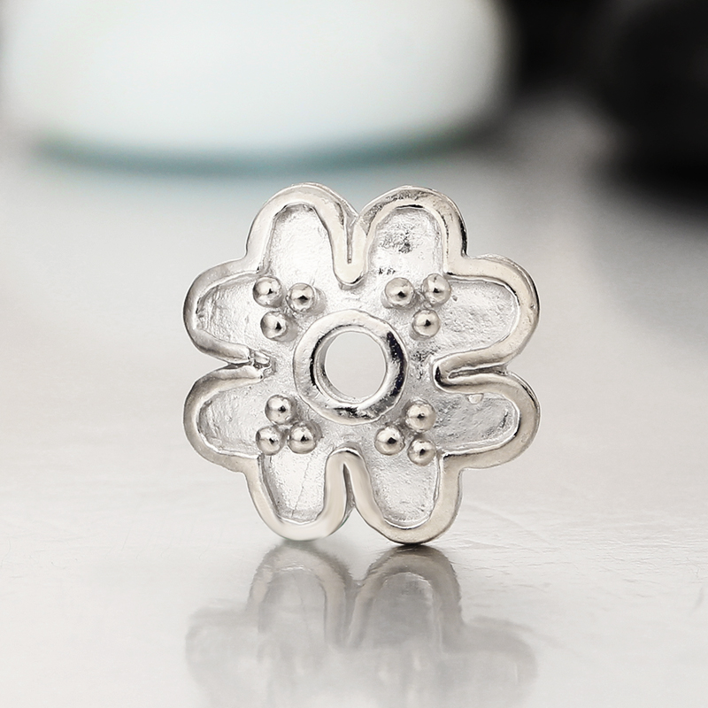 Antique 925 silver findings jewelry making flower bead caps for diy