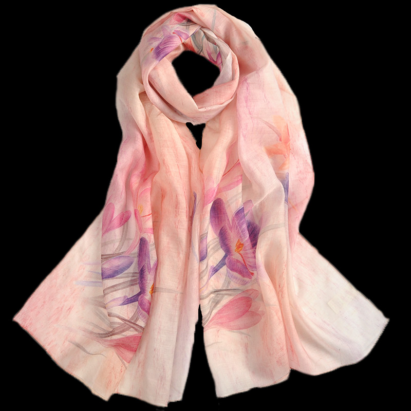 Top selling charming lady floral design printed wool silk blended scarf shawl indian silk scarf
