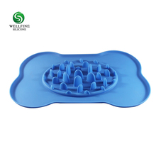 Wholesale S size silicone slow feeder dog bowl with mat pet bowl for little cat dog