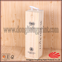 Protable wine bottle packaging small wooden sliding lid box