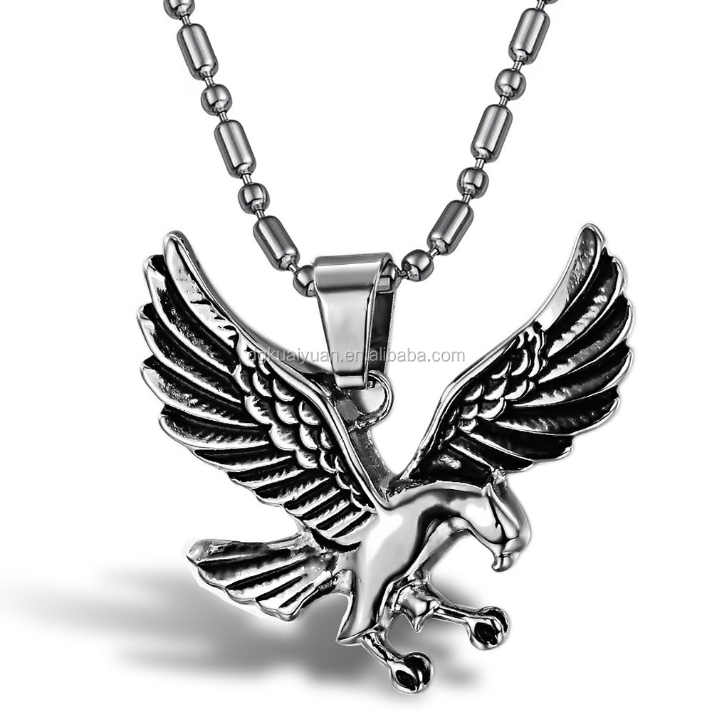 2015 Hot Sell Stainless Steel Mens Cuba Link Chain Casting Albanian eagle wings necklace