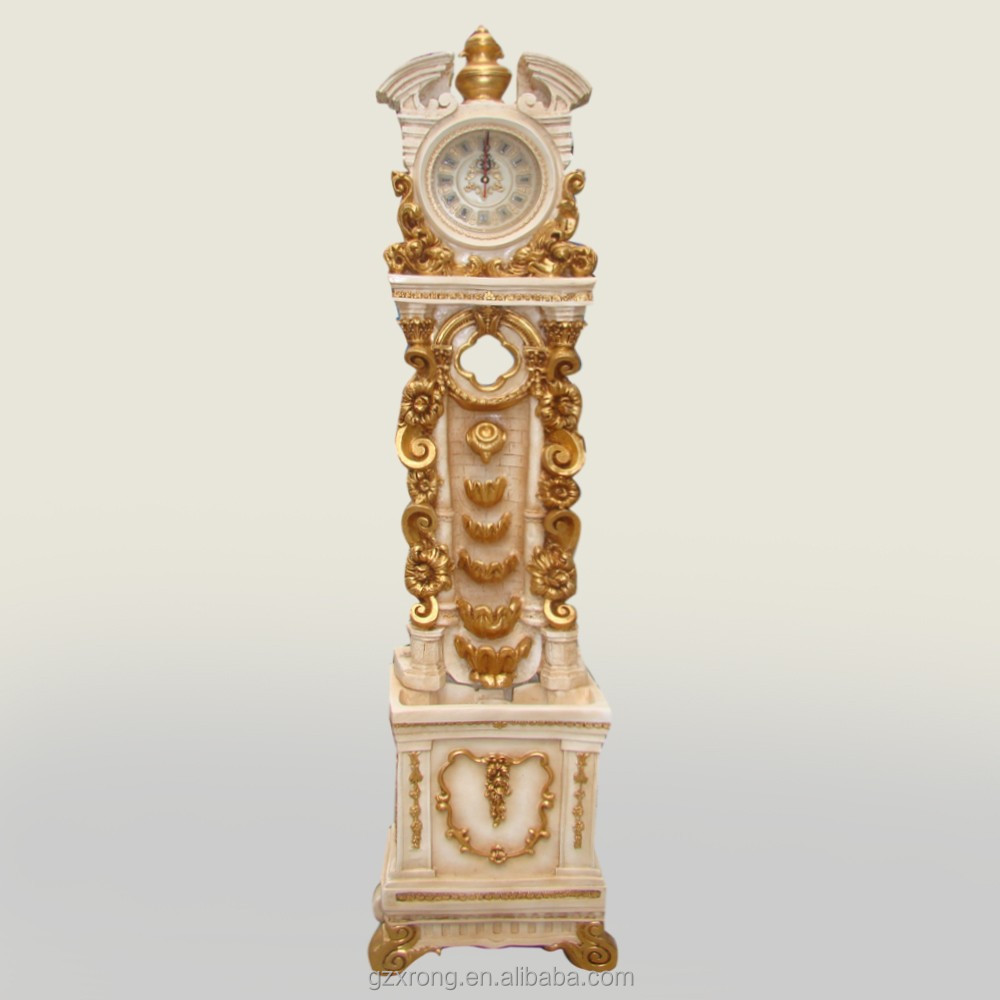 luxury resin grandfather clock with flowing water type for home decor