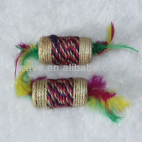 T030 Free Shipping Small Cat Toys Dumbell with Fair Sisal Material 4*7.5 CM Drop Shipping