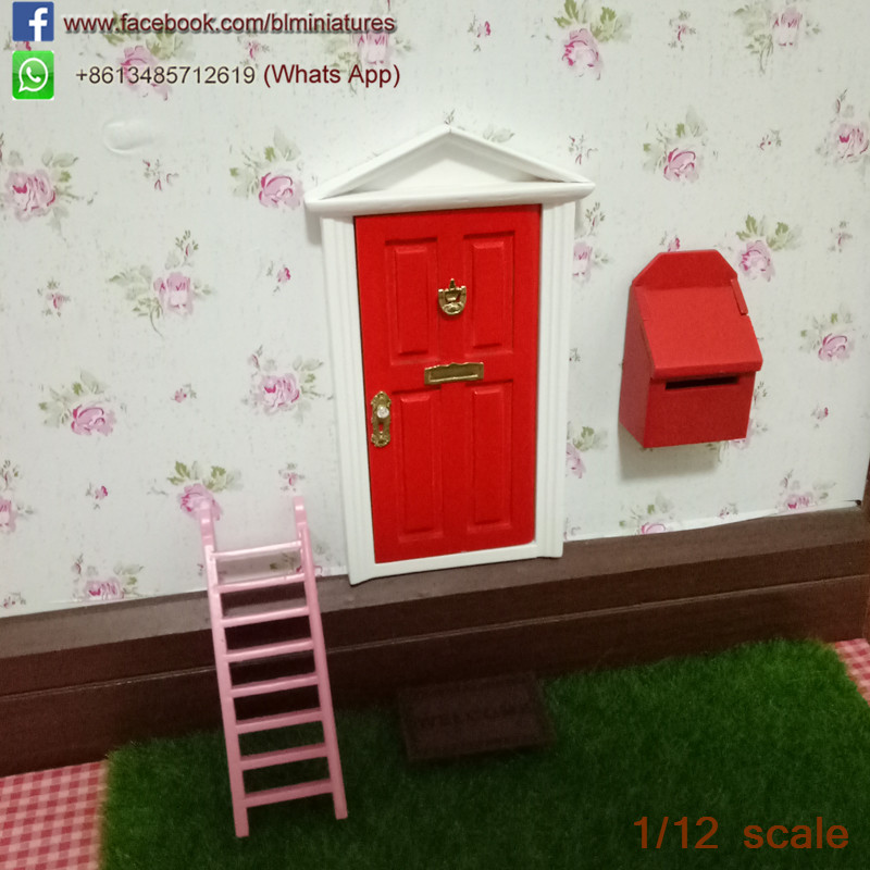 Red Magic Tooth Fairy Door Open Outwards with Fairy Mail Box Wooden Miniature Toys