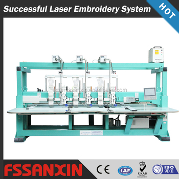 Computerized laser applique cutting embroidery machine with cording device