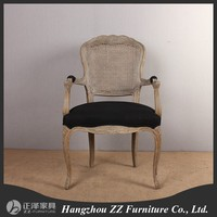 Replica solid wood oak fabric seat wooden dining Chair hand carved shape