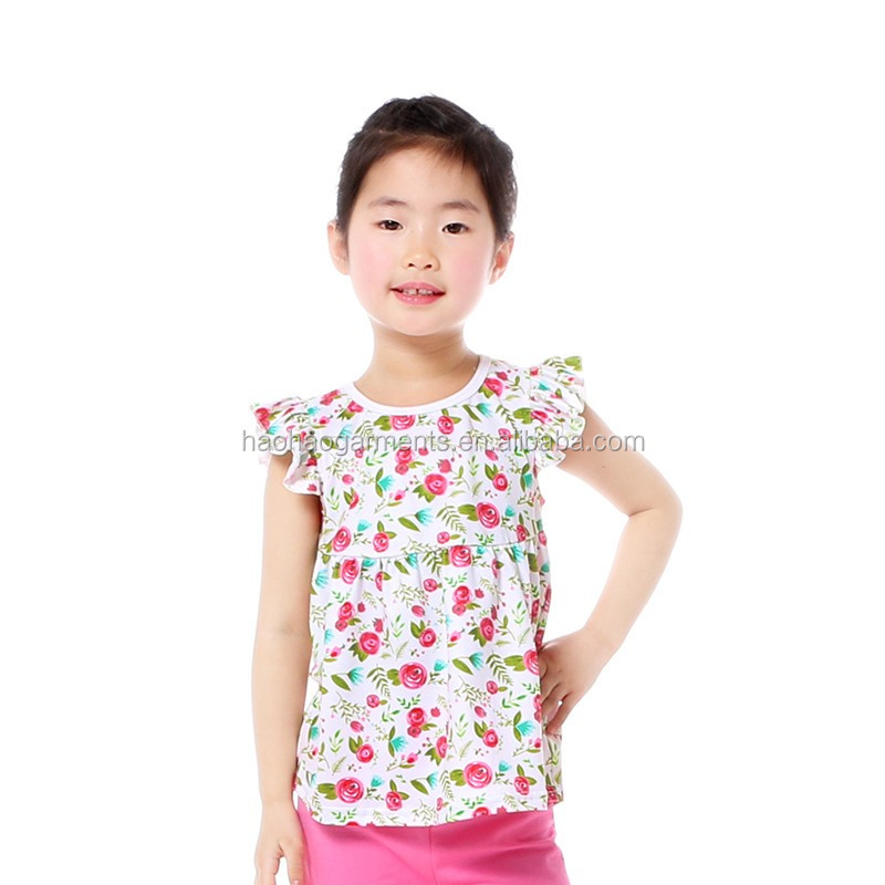 floral summer children comfortable clothing tunics baby cotton fitness tops