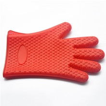 Heat Resistant Silicone Rubber Gloves Hot Sale Silicone Gloves With Fingers Kitchen Glove Clip