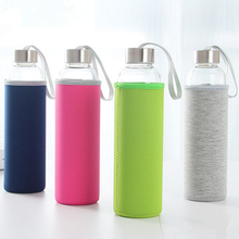 500ml sports glass water bottle with colorful nylon sleeve