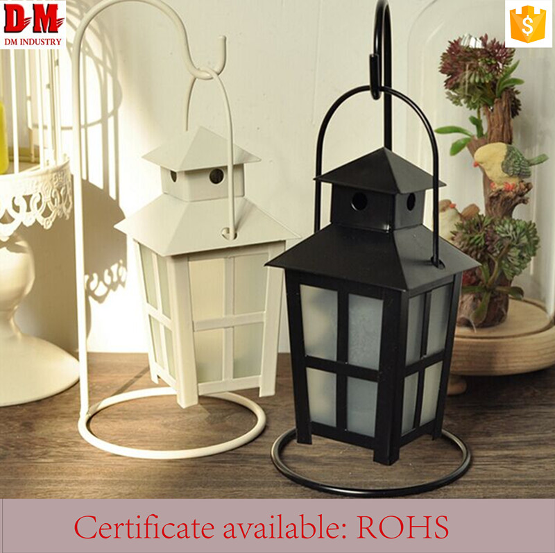 Top Iron Restaurant Glass Candle Holder Lantern